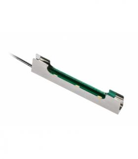 Klip metalowy 3xLED zimny biały do półki szklanej 8mm, 0.24W/12V, przewód 2m z mini amp męsk