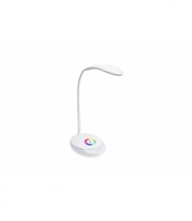 Lampka biurkowa GALACTIC LED, 3W, 120lm, 5V DC, 4000K, podstawa RGB, ładowanie USB, biały