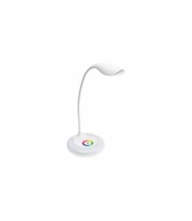 Lampka biurkowa GALACTIC LED, 5W, 240lm,5V DC, 4000K, podstawa RGB, ładowanie USB, biały