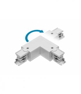 Łącznik L 90° do szynoprzewodu 3-fazowego X-RAIL, 101x101mm, regulowany, Z/W, biały