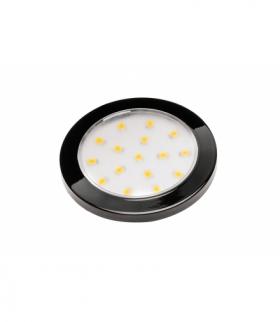 Oprawa LED Lumino czarny połysk 12V DC, 1.5W, 16 SMD3528, ciepły biały, 2m przewód z miniAMP