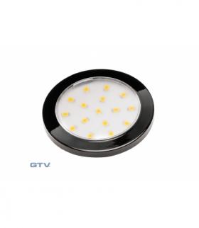 Oprawa LED Lumino czarny połysk 12V DC, 1.5W, 16 SMD3528, neutralny biały, 2m przewód z miniAMP