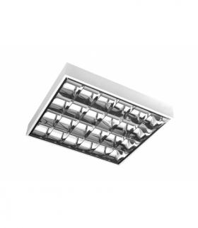 Oprawa rastrowa E, 4x18W, T8, G13, AC220-240V, 50/60Hz, IP20, EVG, PAR, natynkowa, biały