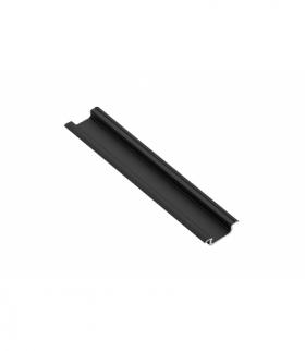 Profil aluminiowy LED z kołnierzem GLAX czarny mat 2 m (wpuszczany)
