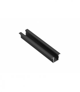 Profil aluminiowy LED z kołnierzem GLAX Mini wysoki 12,5mm czarny mat 2 m (wpuszczany)