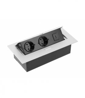 Przedłużacz biurk 2x gniazdo schuko, gniazdo HDMI, kabel zasil z wtyczką,alu