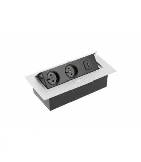 Przedłużacz biurk 2x gniazdo z uziem, gniazdo HDMI, kabel zasil z wtyczką,alu