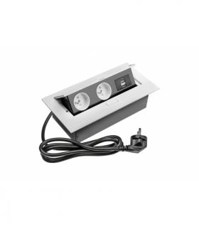 Przedłużacz biurkowy 2x gniazdo z uziemieniem, 2xUSB, kabel zasilający z wtyczką, biały