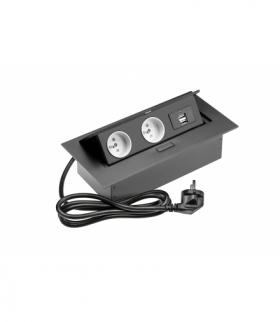 Przedłużacz biurkowy 2x gniazdo z uziemieniem, 2xUSB, kabel zasilający z wtyczką, czarny