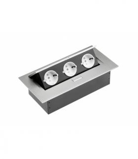 Przedłużacz biurkowy 3x gniazdo schuko, bez kabla, aluminium
