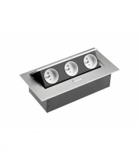 Przedłużacz biurkowy 3x gniazdo z uziemieniem, bez kabla, aluminium