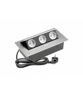 Przedłużacz biurkowy 3x gniazdo z uziemieniem, kabel zasilajacy z wtyczką, aluminium