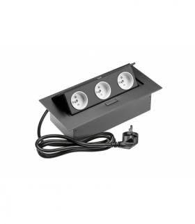 Przedłużacz biurkowy 3x gniazdo z uziemieniem, kabel zasilajacy z wtyczką, czarny