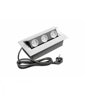 Przedłużacz biurkowy 3x gniazdo z uziemieniem, kabel zasilający z wtyczką, biały