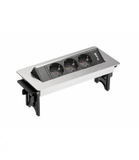Przedłużacz biurkowy bez kasety 3x gniazdo schuko, kabel zasilający 1.5m z wtyczką inox