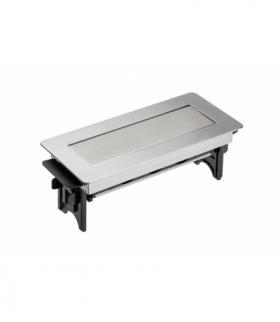 Przedłużacz biurkowy bez kasety 3x gniazdo z uziemieniem kabel 1.5m zasilający z wtyczką, inox