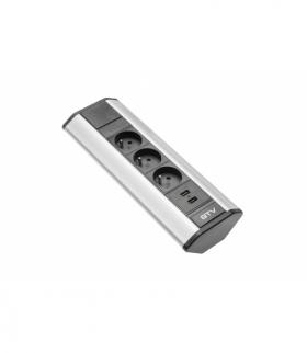 Przedłużacz biurkowy kątowy 3x gniazdo z uziemieniem, 2xUSB 2.1A 5V (srebrny)
