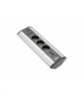Przedłużacz biurkowy kątowy 3x schuko, 2xUSB 2.1A 5V (srebrny)