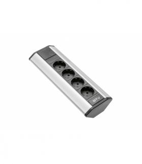 Przedłużacz biurkowy kątowy 4x schuko (srebrny)