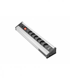 Przedłużacz biurkowy MULTI z zabezpieczeniem przeciwprzepięciowym, 6x gniazdo z uziemieniem, 4x USB