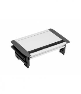 Przedłużacz biurkowy przepustowy 3x gniazdo schuko, kabel 1,5m, bez kasety, aluminium