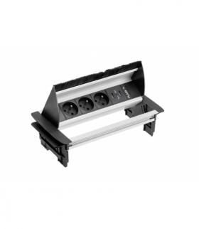 Przedłużacz biurkowy przepustowy 3x gniazdo z uziemieniem 2xUSB 2.1A 5V, kabel 1,5m, bez kasety,alu