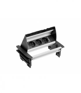 Przedłużacz biurkowy przepustowy 3x gniazdo z uziemieniem, kabel 1,5m, bez kasety, aluminium