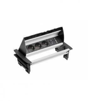 Przedłużacz biurkowy przepustowy 3xgniazdo schuko, 2xUSB 2.1A 5V, kabel 1,5m, bez kasety, alu
