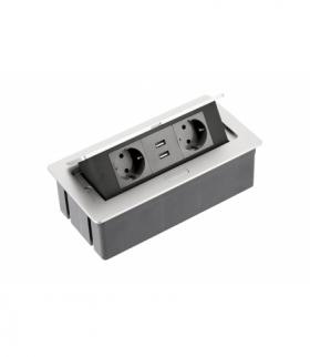Przedłużacz biurkowy SOFT 2x gniazdo schuko, USB 2,1A, kabel zasilający z wtyczką, alu