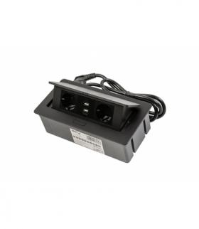 Przedłużacz biurkowy SOFT 2x gniazdo schuko, USB 2,1A, kabel zasilający z wtyczką, czarny,NOWY PANEL