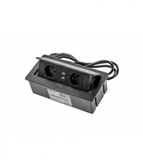 Przedłużacz biurkowy SOFT 2x gniazdo z uziem, USB 2,1A, kabel zasilający z wtyczką,czarny,NOWY PANEL