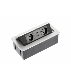 Przedłużacz biurkowy SOFT 2x gniazdo z uziemieniem, USB 2,1A, kabel zasilający z wtyczką, alu