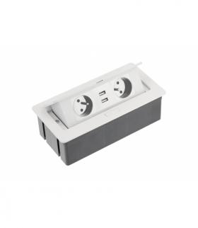 Przedłużacz biurkowy SOFT 2x gniazdo z uziemieniem, USB 2,1A, kabel zasilający z wtyczką, biały