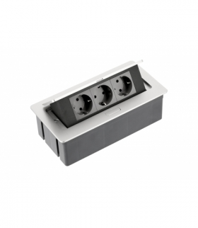 Przedłużacz biurkowy SOFT 3x gniazdo schuko, kabel zasilający z wtyczką, alu