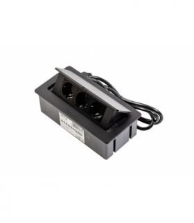 Przedłużacz biurkowy SOFT 3x gniazdo schuko, kabel zasilający z wtyczką, czarny, NOWY PANEL