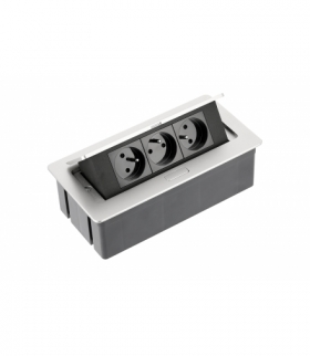 Przedłużacz biurkowy SOFT 3x gniazdo z uziemieniem, kabel zasilający z wtyczką, alu