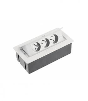 Przedłużacz biurkowy SOFT 3x gniazdo z uziemieniem, kabel zasilający z wtyczką, biały