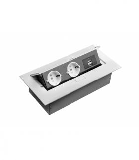 Przedłużacz biurkowy, 2x gniazdo schuko, 2xUSB, bez kabla, biały