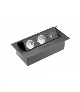 Przedłużacz biurkowy, 2x gniazdo schuko, 2xUSB, bez kabla, czarny