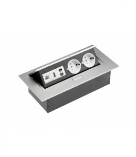 Przedłużacz biurkowy2x gniazdo schuko,gniazdo USB,audio(banan),gniazdo RJ45 (Ethernet),bez kabla,alu