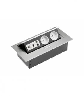 Przedłużacz biurkowy2x gniazdo z uziem,gniazdo USB,audio(banan),gniazdoRJ45 (Ethernet),bez kabla,alu