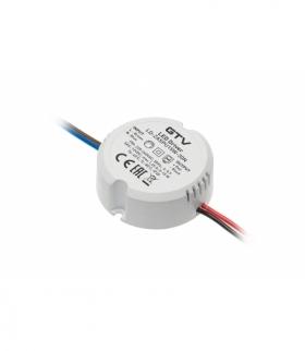 Zasilacz LED puszkowy 12V,15W, input 220-240VAC, IP20, wym.fi55 x 21mm z przewodami 100mm