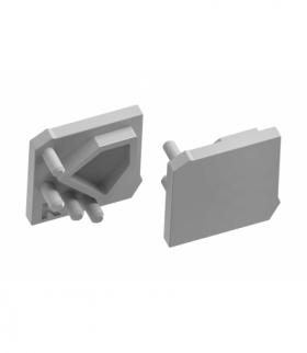 Zaślepka trójkąt do profilu GLAX kątowy - nakładany lewa oraz prawa srebrna lakierowana ( 10s/blis)