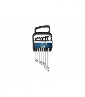 Zestaw kluczy płasko-oczkowych, z grzechotką 10-19mm, z stali CrV 6140