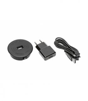 Zestaw ładowarka bezprzewodowa z USB czarna z zasilaczem (kabel USB rozłączny 2m)