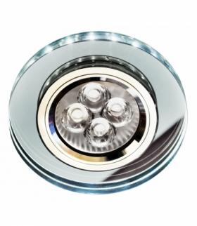 SS-23-CH/TR+WH GU10 50W+LED SMD 230V BIAŁY 2 1W CHROM oczko sufitowe lampa sufitowa STAŁA OKRĄGŁA SZKŁO TRANSPARENTNE