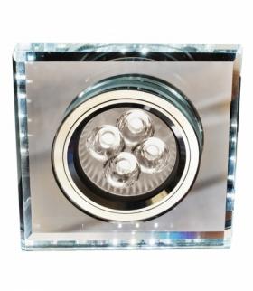 SS-22-CH/TR+WH GU10 50W+LED SMD 2 1W BIAŁY 230V CHROM oczko sufitowe lampa sufitowa. STROP. STAŁA KWADRATOWA SZKŁO TRANSPARENTN