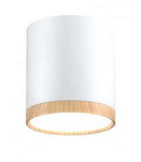 LAMPA SUFITOWA TUBA 5W LED 4000K DREWNIANY+BIAŁY ŚR. 6,8 CM
