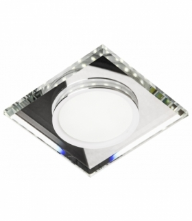 SSP-22-CH/TR+WH 8W LED 230V RING LED BIAŁY oczko sufitowe lampa sufitowa STAŁA KWADRATOWA SZKŁO TRANSPARENTNE
