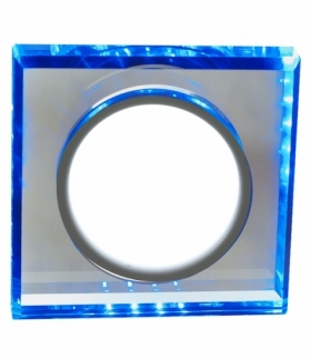 SSP-22-CH/TR+BL 8W LED 230V RING LED NIEBIESKI oczko sufitowe lampa sufitowa STAŁA KWADRATOWA SZKŁO TRANSPARENTNE